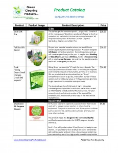 Green Cleaning Products Product Catalog